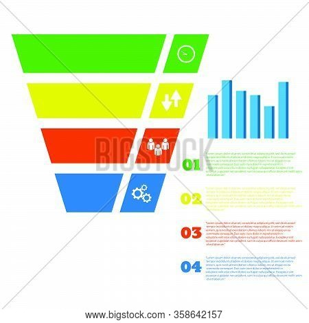 Business Sales Funnel Infographic Icolor Design Vector Eps 10