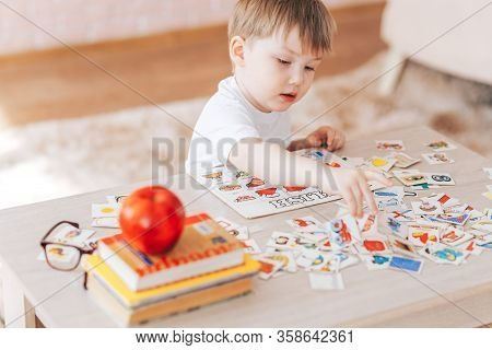 The Child Is Studying At Home, English Learning With Cards, Educational Games For Children, Teaching
