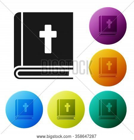 Black Holy Bible Book Icon Isolated On White Background. Set Icons In Color Circle Buttons. Vector I