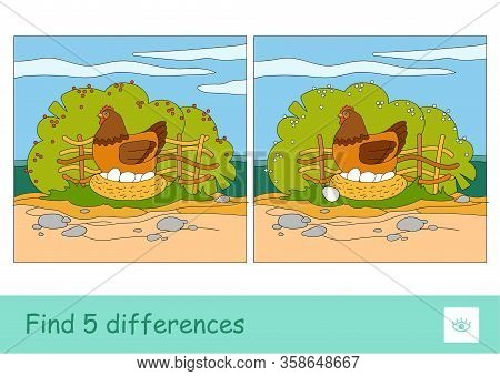 Find Five Differences Quiz Learning Children Game With Image Of Brood Chicken Sitting On Eggs In Nes