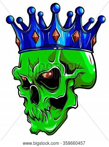 Vector Character - Skull King And Crossed Royal Scepters Illustration