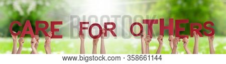 People Hands Holding Word Care For Others, Grass Meadow