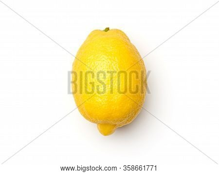 One Lemon Isolated On White Background. Top View