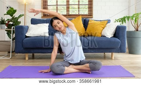 Exercise At Home, Social Distancing, Asian Girl Body Stretch For Workout Fitness, Healthy Asia Woman