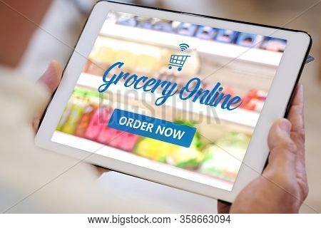 Grocery Online Shop To Order Food Delivery From Supermarket, Senior Man Hands Using Digital Tablet F