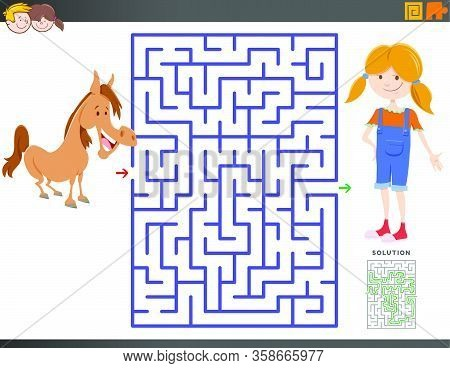 Cartoon Illustration Of Educational Maze Puzzle Game For Children With Girl And Horse Or Pony Charac