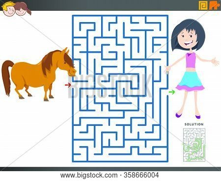 Cartoon Illustration Of Educational Maze Puzzle Game For Children With Girl And Pony Animal Characte