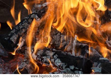 A Big Red Bonfire Close Up View