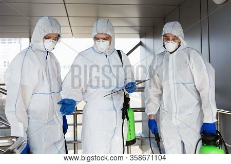 Scientific Researches Of Coronavirus Samples Taken From Surfaces Outdoor, People In Hazmat Suits