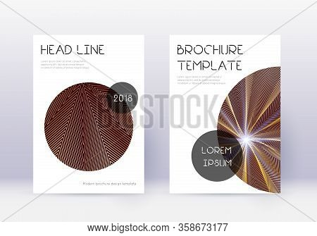 Trendy Cover Design Template Set. Gold Abstract Lines On Maroon Background. Flawless Cover Design. V