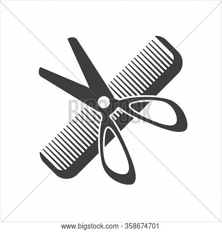 A Barbershop Icon. A Sign Of A Hair Dresser. A Symbol Of A Barber And A Barbershop. Hairdressing Ico