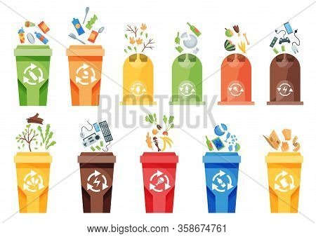 Garbage Collection Recycling. Plastic Containers For Garbage Of Different Types. Rubbish Container C