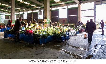 Eskisehir, Turkey - January 09, 2020: People At Traditional Typical Turkish Grocery Bazaar In Eskise