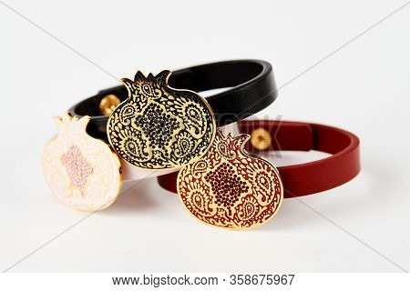 Colorful Bangle Jewelry Collection On White Background, Close-up