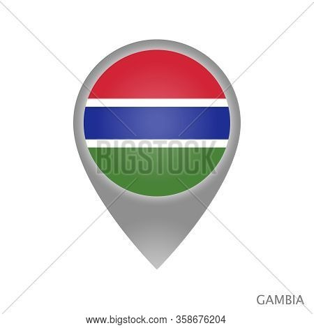Map Pointer With Flag Of Gambia. Colorful Pointer Icon For Map. Vector Illustration.