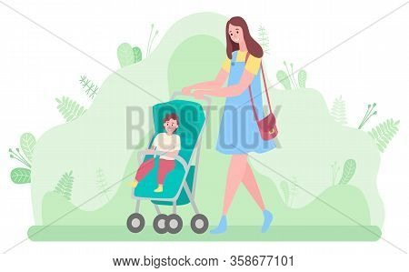 Woman Walking With Baby In Park Vector, Mother With Kid Sitting In Perambulator. Mommy With Toddler,