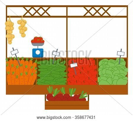 Vegetables And Fruit Sale, Harvesting Products In Container. Carrot And Cucumber, Apple And Cabbage,