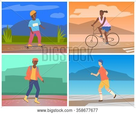 Woman Riding Bicycle. Young African American Guy Rollerblading. Man In Sporstwear Jogging. Boy In He