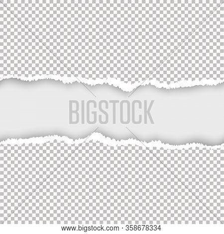 A Piece Of Torn, White Realistic Horizontal Paper Strip With A Soft Shadow Is On A Square Background