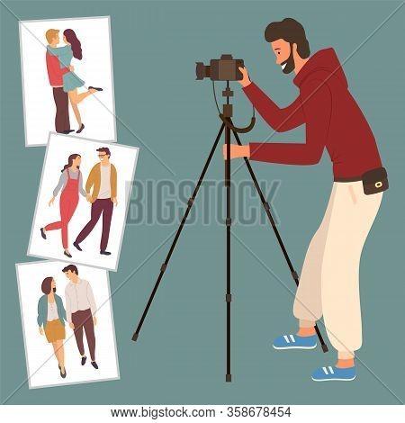 Love Story Photos, Photographer And Camera On Tripod Vector. Creative Work, Photography Or Photograp
