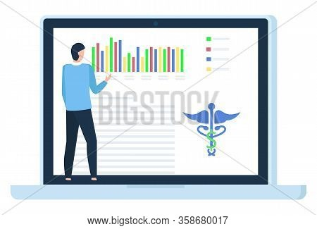 Patient Diagnosis In Laptop, Back View Of Man Using Computer, Healthcare Online. Graph Report, Caduc
