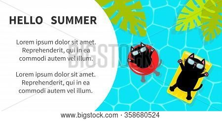 Hello Summer Banner Flyer. Pool Party. Black Cat Floating On Float Water Circle Yellow Mattress. Top