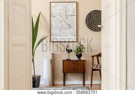 Design Scandinavian Home Interior Of Living Room With Mock Up Poster Map, Stylish Wooden Commode And