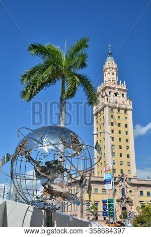 Miami, Usa - March 18, 2017: Freedom Tower In Miami And Port Of Miami Entrance.