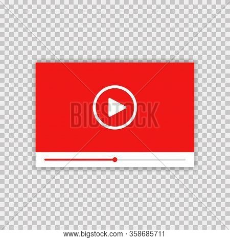 Video Player. Vector Isolated Illustration. Media Player Frame On Transparent Background With Shadow
