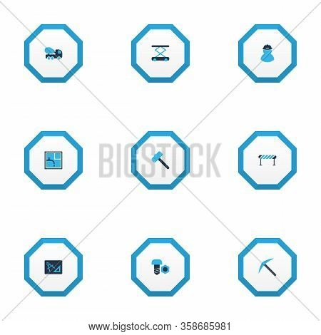 Construction Icons Colored Set With Barrage, Foreman, Concrete Mixer And Other Screwing Elements. Is