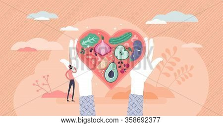Healthy Nutrition Vector Illustration. Eat Vegetables For Good Shape And Health In Flat Tiny Persons