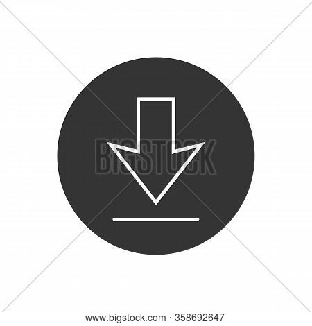 Download Line Icon On White Background. Downloading Vector Icon