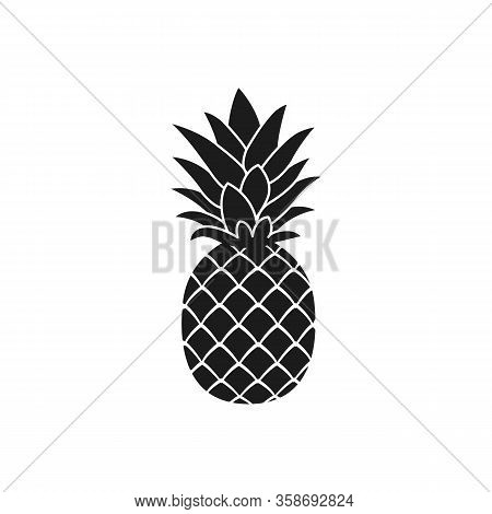Pineapple Silhouette Icon. Isolated On White. Black Pineapple. Vector