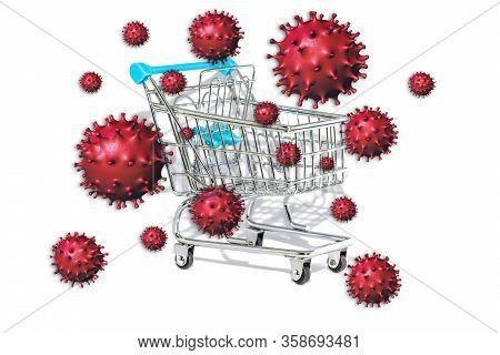 Coronavirus Or Covid-19 On Surfaces Of Objects We Touch Such As Shopping Carts. Internet E-shopping