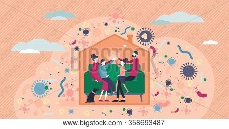 Stay Home Vector Illustration. Family Inside House Tiny Persons Concept. Corona Virus Covid-19 Trans