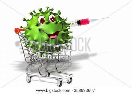 Coronavirus Covid-19 On A Shopping Cart. Internet Shopping Online Concept During Quarantine Of 2019-