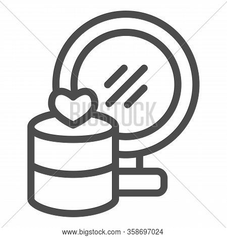Mirror And Jewellery Line Icon. Gift Box With Heart And Makeup Glass Symbol, Outline Style Pictogram