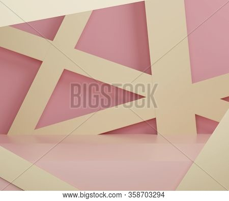 3d Abstract Minimalist Geometric Forms. Glossy Luxury Podium For Your Design In Trendy Interior. Fas