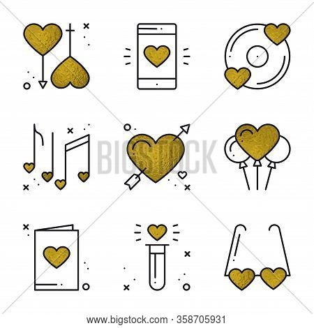Love Icons In Gold. Heart Shape Vector Illustration. Love Couple, Relationship, Dating Wedding, Roma