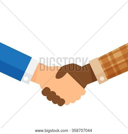 Businessmen And Farmer Hands Handshaking, Employer And Worker Man Holding Clasp Hands, Businessmen A