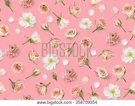 Floral Seamless Pattern Made Of Pink Flowers And Rosebuds. Flat Lay, Top View. Valentines Background