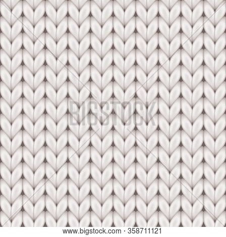 Knitted Realistic Seamless Background Of White Color. Knitting Vector Pattern. Vector Knit Texture F
