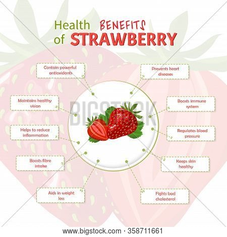 Health Benefits Of Strawberry. Strawberries Nutrients Infographic Template Vector Illustration. Fres