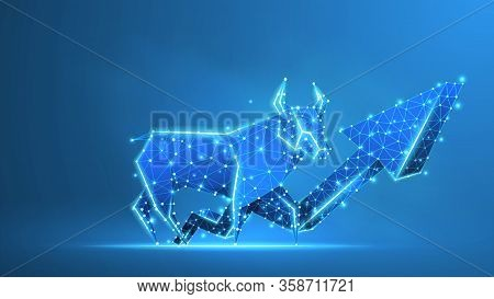 Bull Market Trend, Growth Arrow. Stock Exchange And Concept Of A Trading Chart. Low Poly, Wireframe