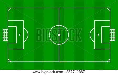 Soccer Field, Football Field In Top View, Football Ground For Soccer Sport Infographics, Illustratio