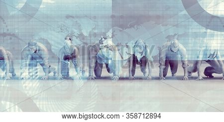 Determination to Succeed of Business Executives Focused 3D Render