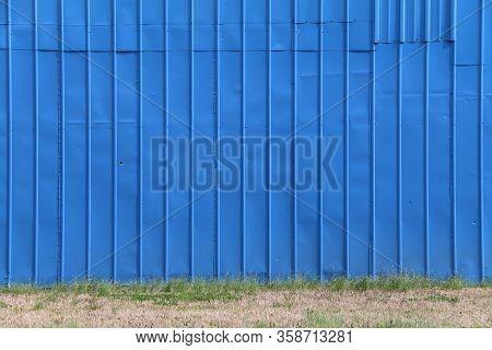 Beautiful Blue Warehouse Factory Wall Grass Sunlight