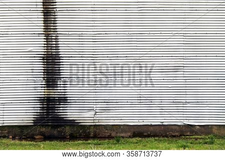 White Metal Corrugated Metal Wall Rust Grass