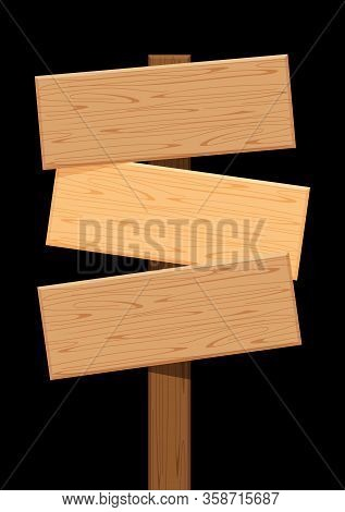 Three Wooden Sign Of Different Directions Isolated On Black, Empty Wood Plank Signs For Copy Space,
