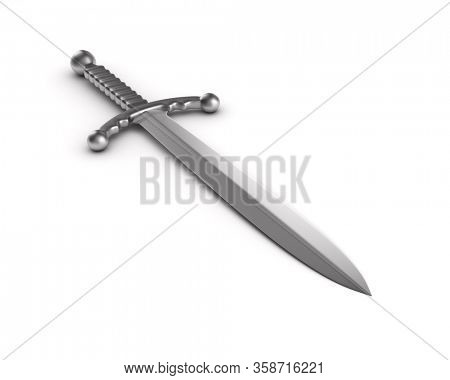metallic sword on white background. Isolated 3D illustration